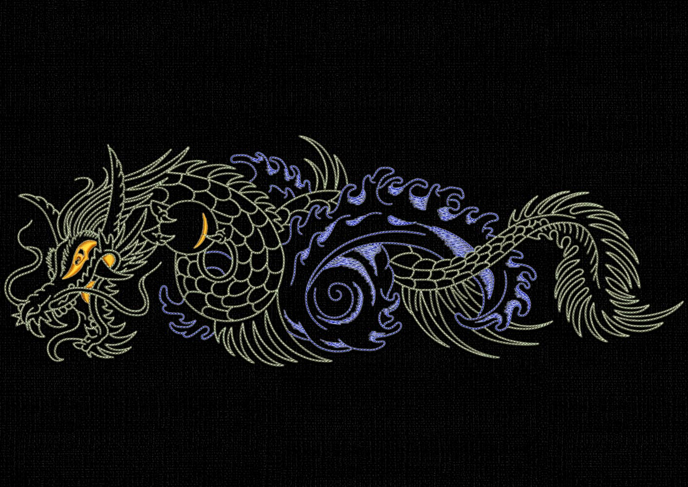 Dragons Backstitch Style Embroidery Designs Pack 1