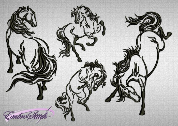 The pack of embroidery designs 4 tattoo horses, that are provided in 3 sizes