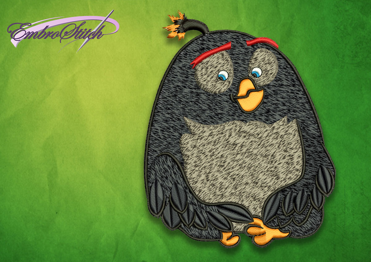 The embroidery design Bomb from Angry birds movie will looks great on clothes and home textile.