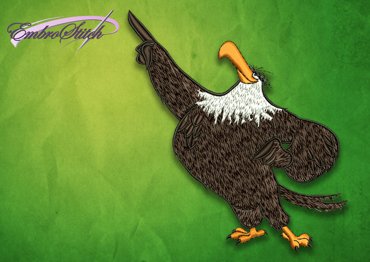 The embroidery design Eagle from Angry birds movie will nicely decorate your apparel and home space.