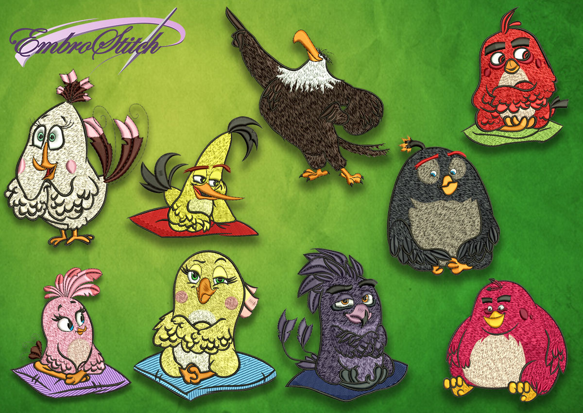 The pack of high quality embroidery designs Characters from Angry birds movie contains 9 designs.