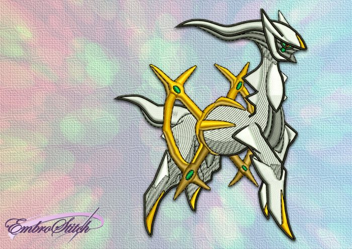 The embroidery design Arceus Pokemon was made in EmbroStich Studio