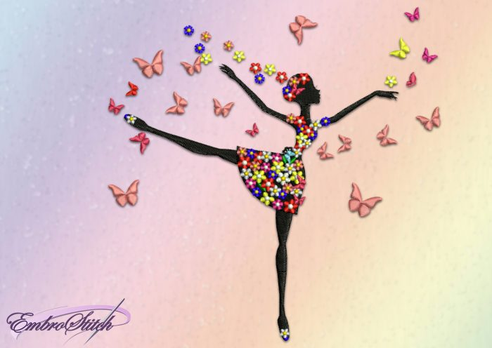 The embroidery design Ballerina demand using of the stabilizer