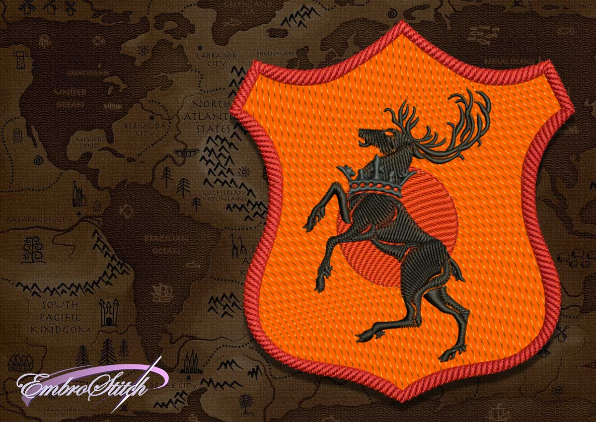 Superior quality of the embroidery design Patch Applique Baratheon shield from Game of Thrones is provided by EmbroStich team.