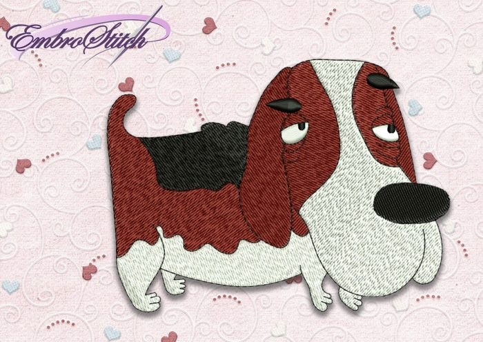 The high quality embroidery design Dog Basset hound