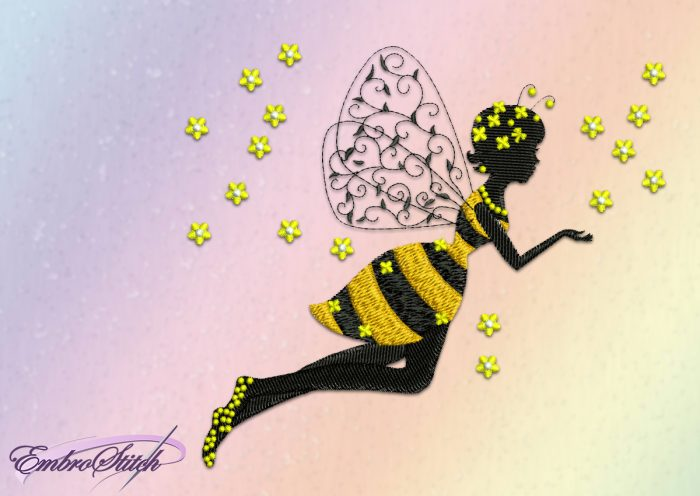 The embroidery design Bee girl demand using of stabilizing material folded in one or two layers