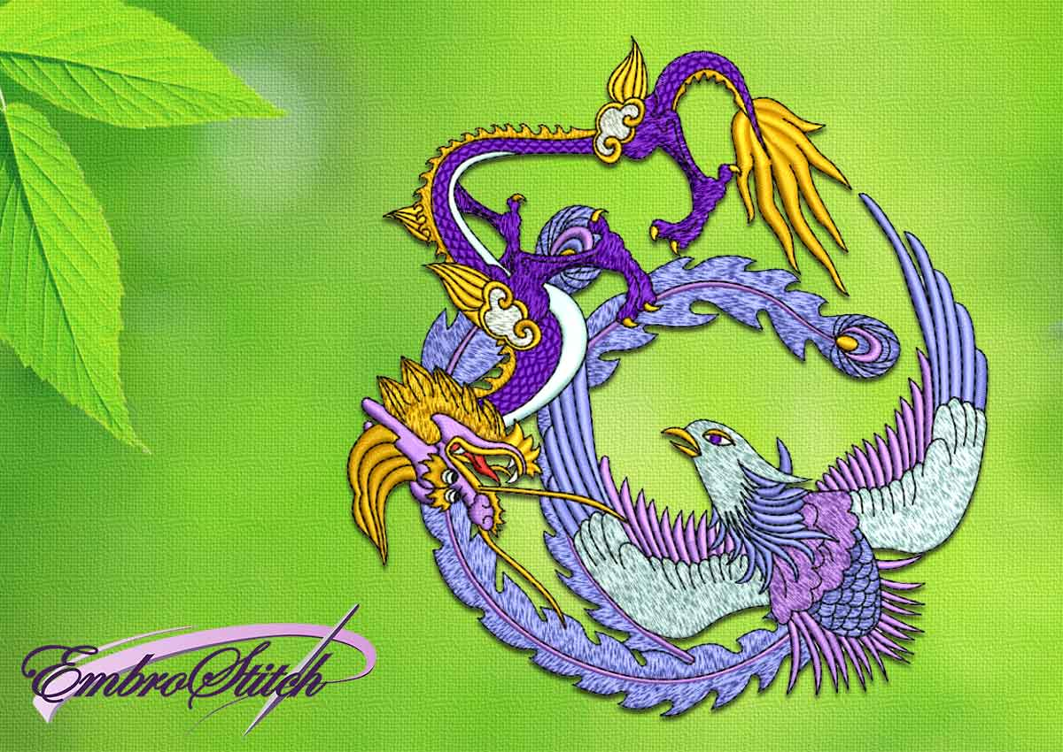 The embroidery design Bird with dragon
