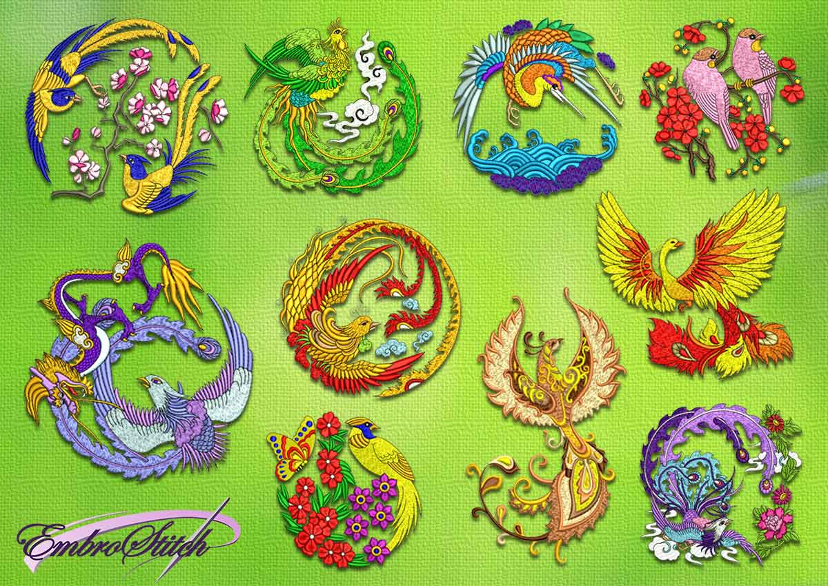 The pack of embroidery designs Birds of paradise