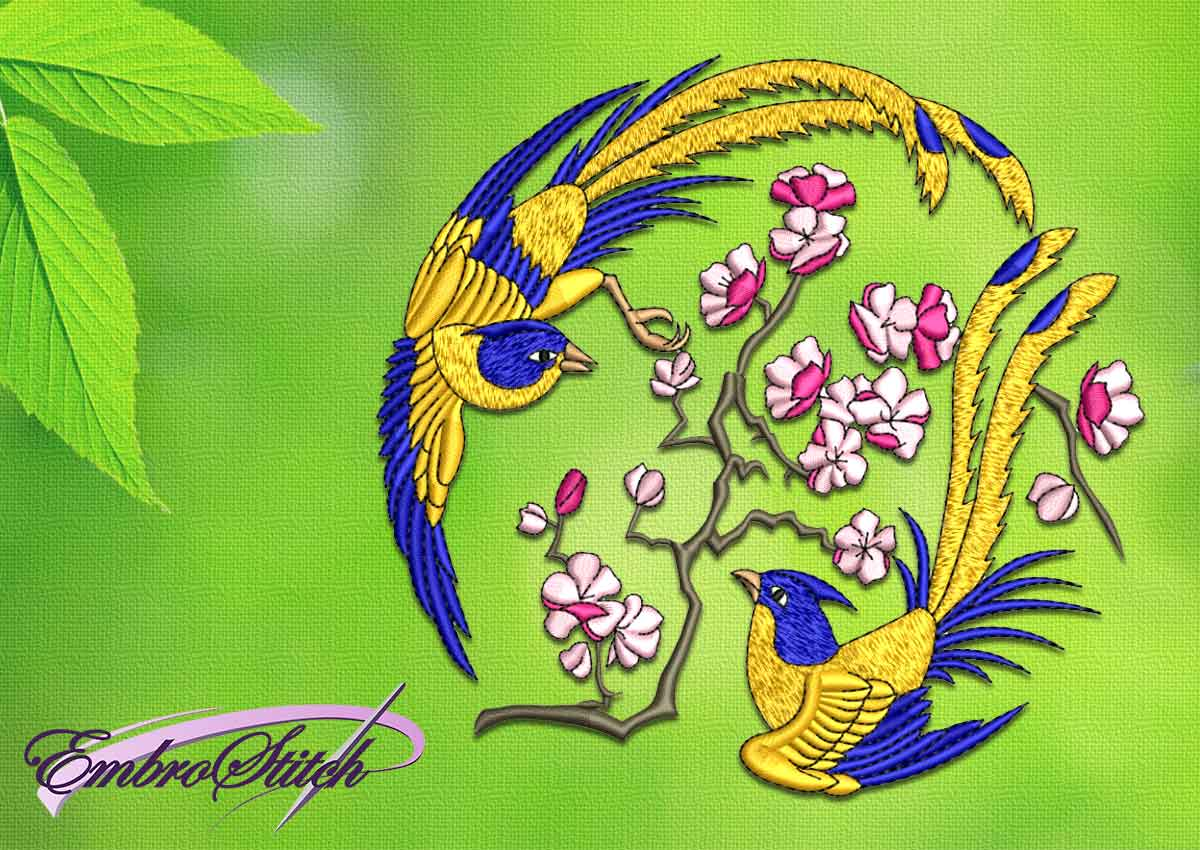 The embroidery design Bird with sacura