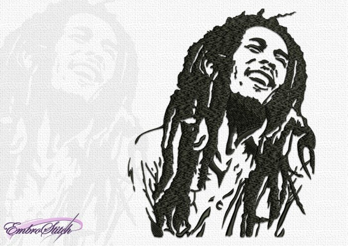 The embroidery design Bob Marley, that was and remains an outstanding musician of our time.