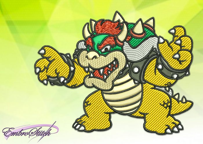 The embroidery design Bowser of The Mario Brothers is represented as digital file