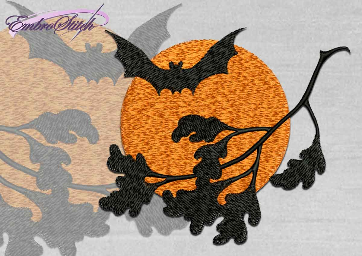 The high quality Halloween embroidery design Branch and Bat