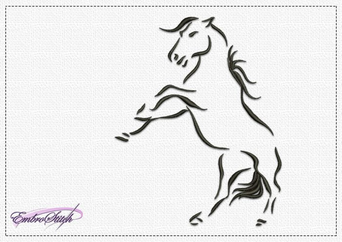 The embroidery design Bucker Horse is  easy to embroider thanks to it being one-colored.