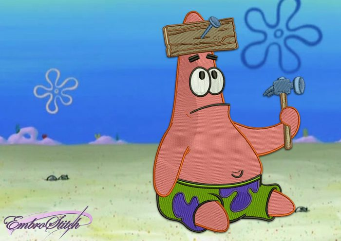 The embroidery design Builder Patrick Star, that is ready to build the house of SpongeBob