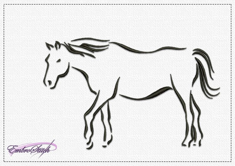 The embroidery design Calm Horse will look good on any fabric due to its monochromatic and simplicity.
