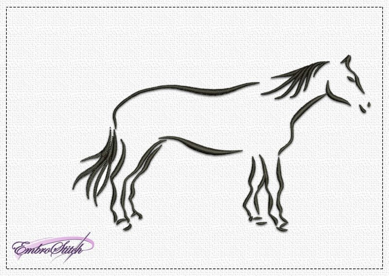 The embroidery design Careful Horse depicts horse that has just noticed something unusual.
