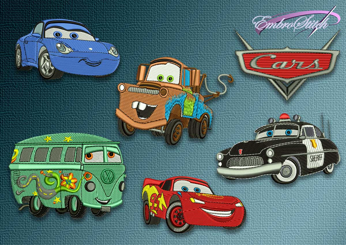 The pack of embroidery designs Cartoon Cars