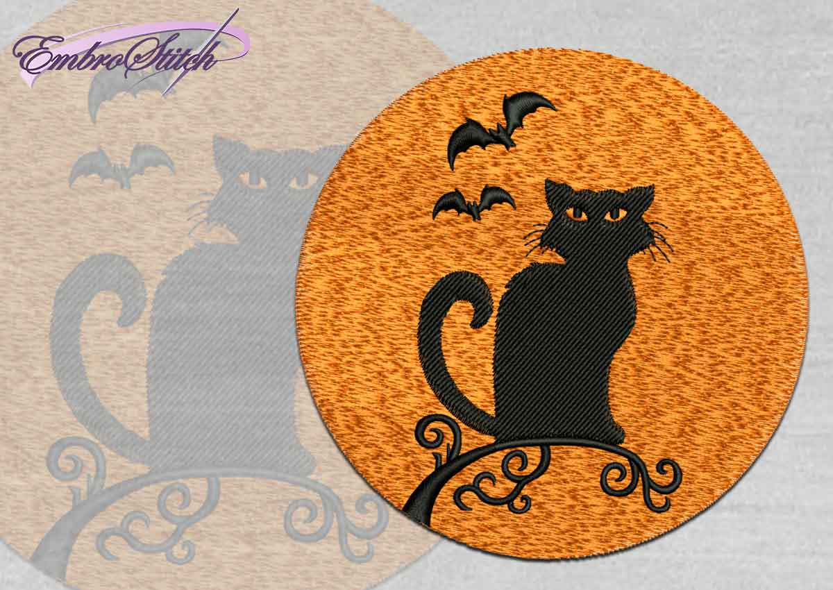The high quality Halloween embroidery design Cat and Bats