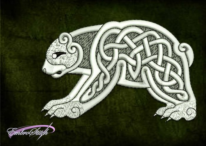 The unique embroidery design Celtic bear will be great addition to any apparel.