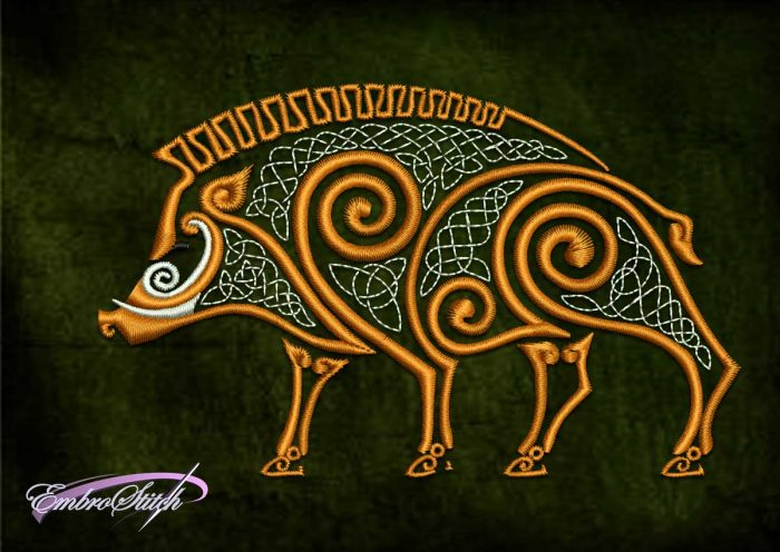 8 embroidery formats and 3 sizes of the embroidery design Celtic boar was made by EmbroStich team.