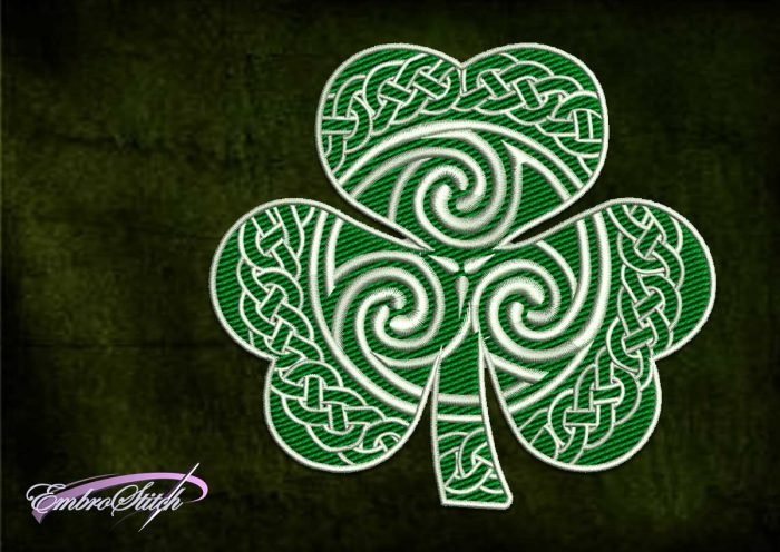 The embroidery design Celtic clover is provided with 8 embroidery formats by EmbroStich team.