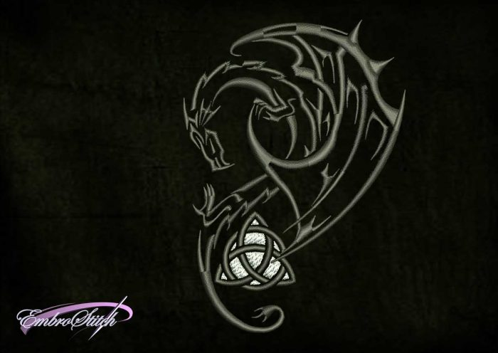 The qualitative embroidery design Celtic dragon will look great on different types of clothes.