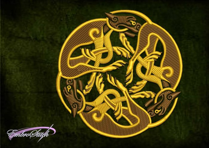 The ethnic embroidery design Celtic hounds was created in 8 embroidery formats.