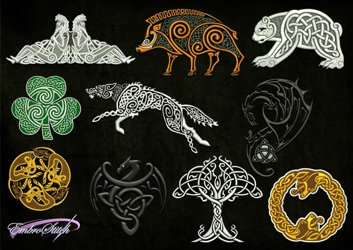 The pack of embroidery designs Celtic Motifs contains 10 mysterious ethnic designs