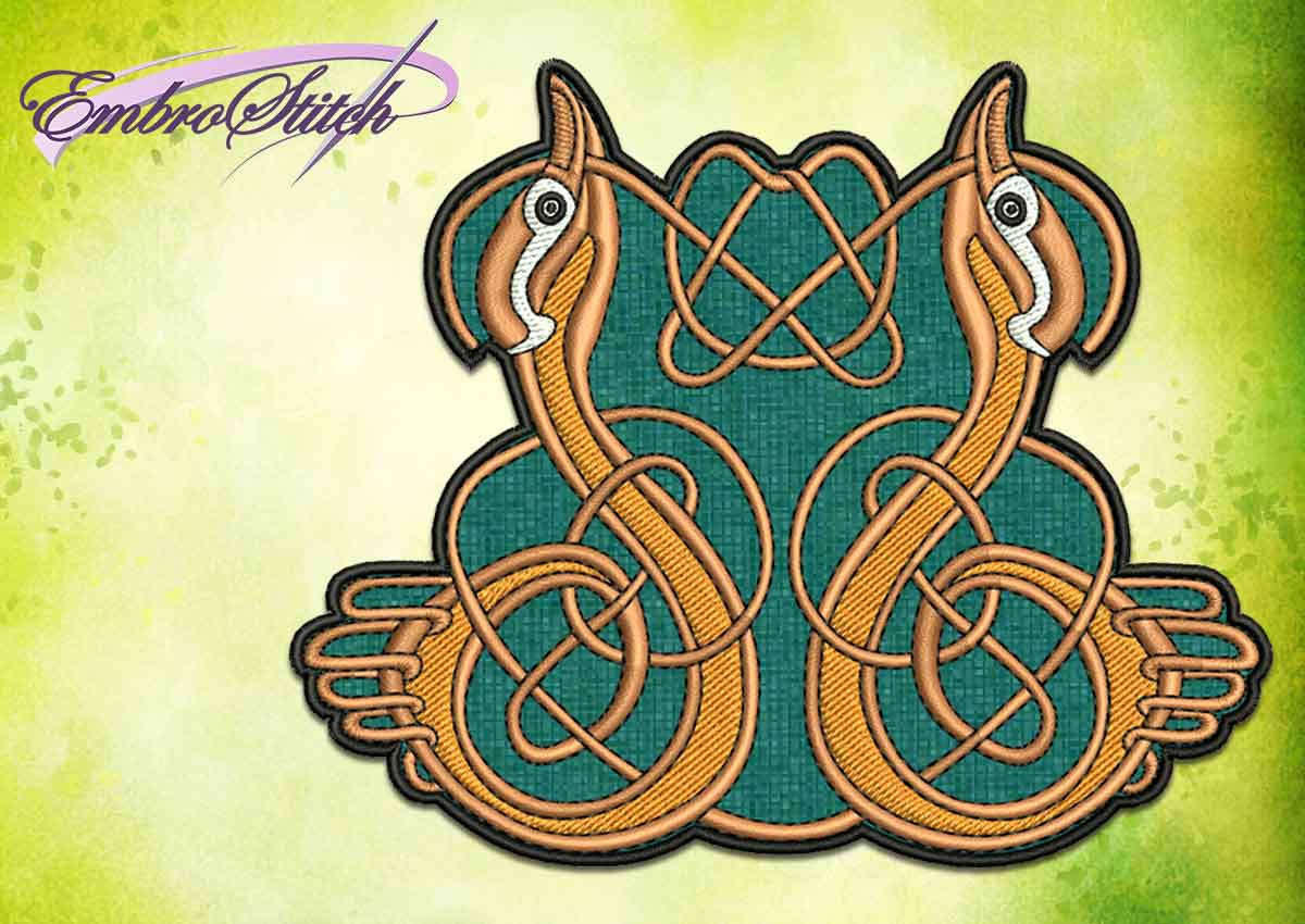 The embroidery design Celtic pattern with ducks patch