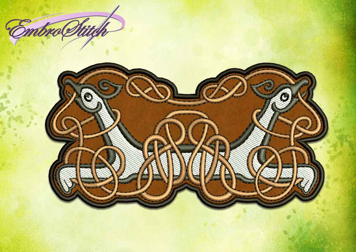 The embroidery design Celtic pattern with griffins