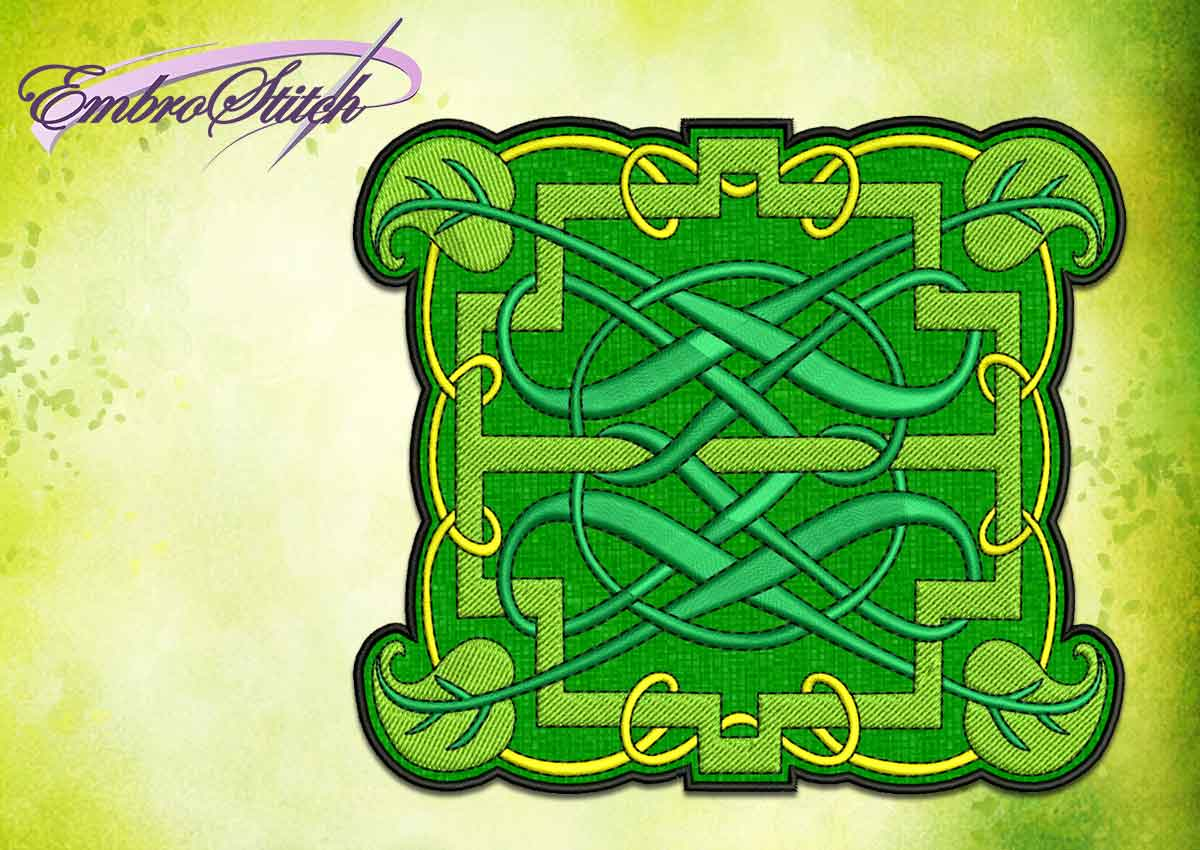 The embroidery design Celtic pattern with leaves