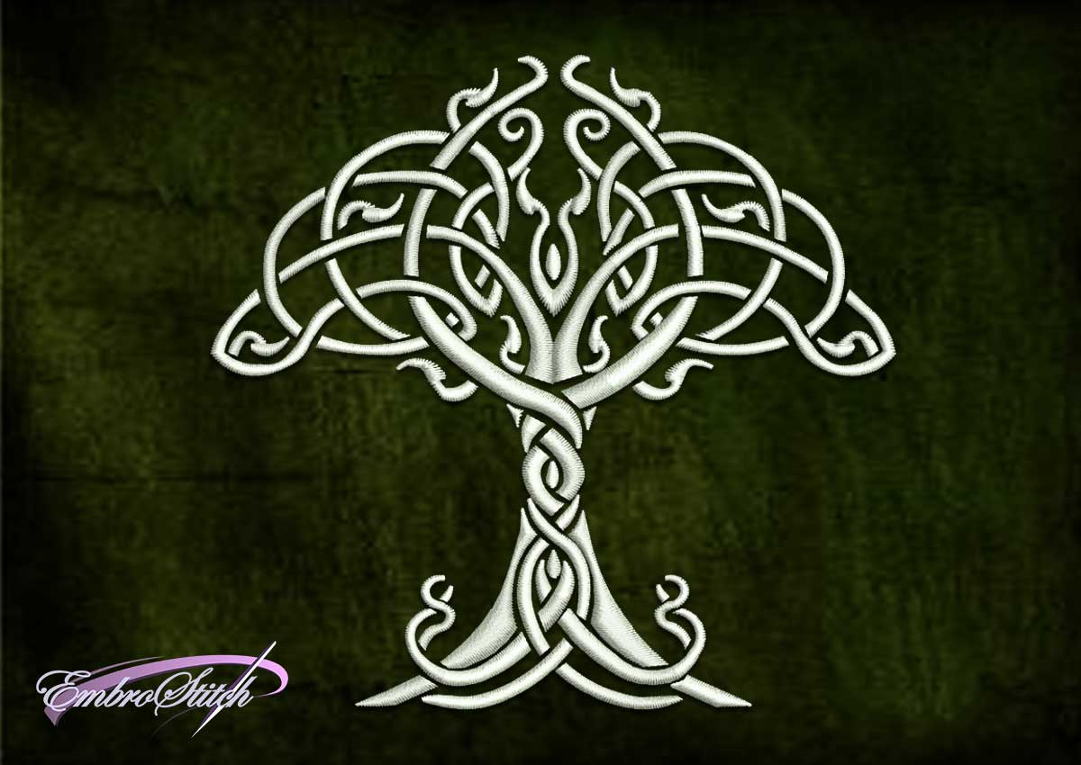 The qualitative embroidery designCeltic tree was created in three sizes.