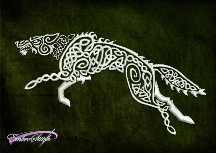 The embroidery design Celtic wolf is provided as instantly downloadable file.