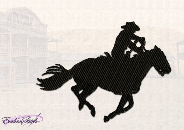 The embroidery design Charging Cowboy