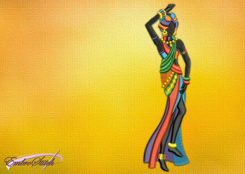 The embroidery design Charming African dancer , that is dressed in a long colored skirt