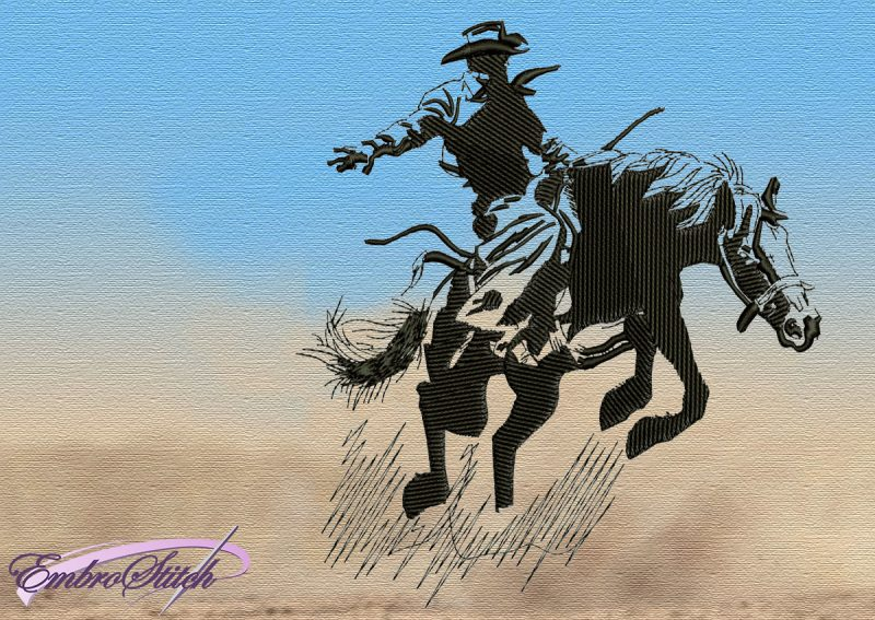 The embroidery design Cowboy Breaking a Horse consists of very diverse elements