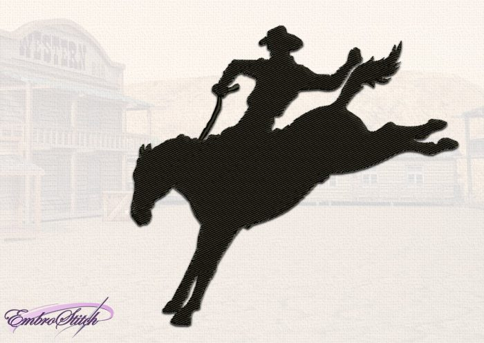 The embroidery design Cowboy Landing depicts a silhouette of a cowboy