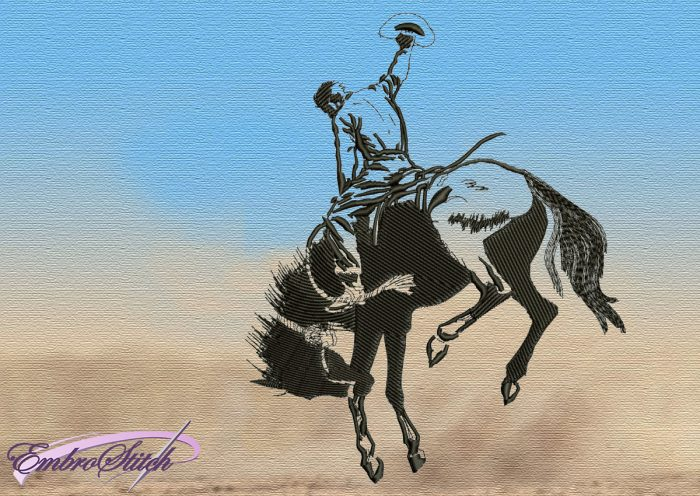 The embroidery design Cowboy and a Stubborn Horse is very creative and consists of multiple elements