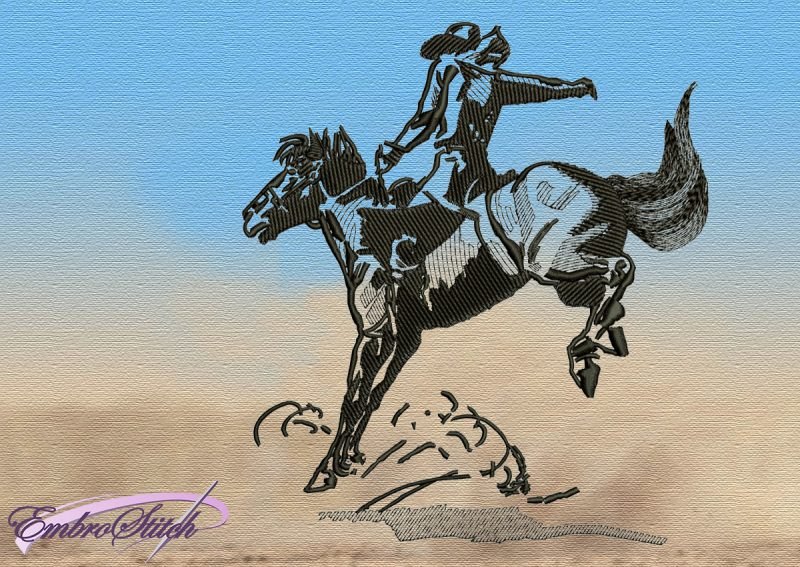 The embroidery design Cowboy on a Galloping Horse was digitized in EmbroStich Studio