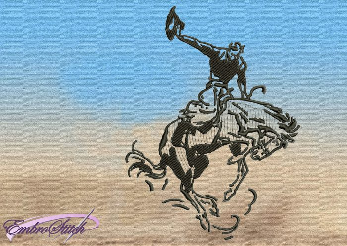 The embroidery design Cowboy on a Prancing Horse was digitized and tasted in EmbroStich Studio