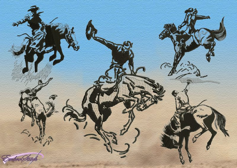 The pack of embroidery designs Cowboys contains 5 items