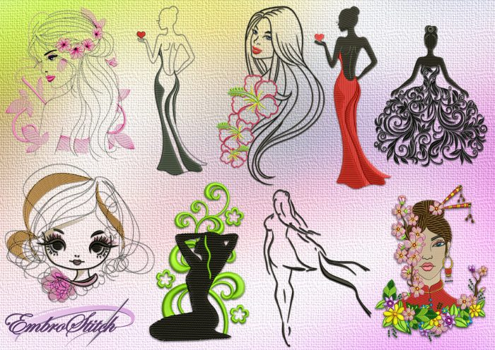 The pack of embroidery designs Creative girls is provided with 9 items,