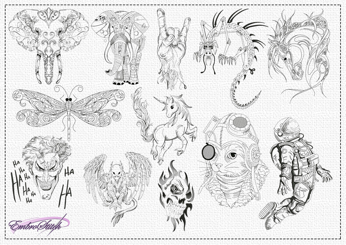 The pack of embroidery designs Creative pencil drawings