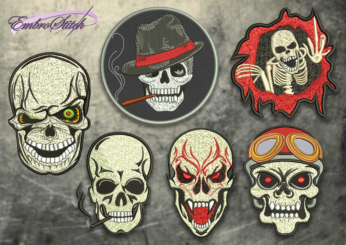 The pack of embroidery designs Creative skull patches