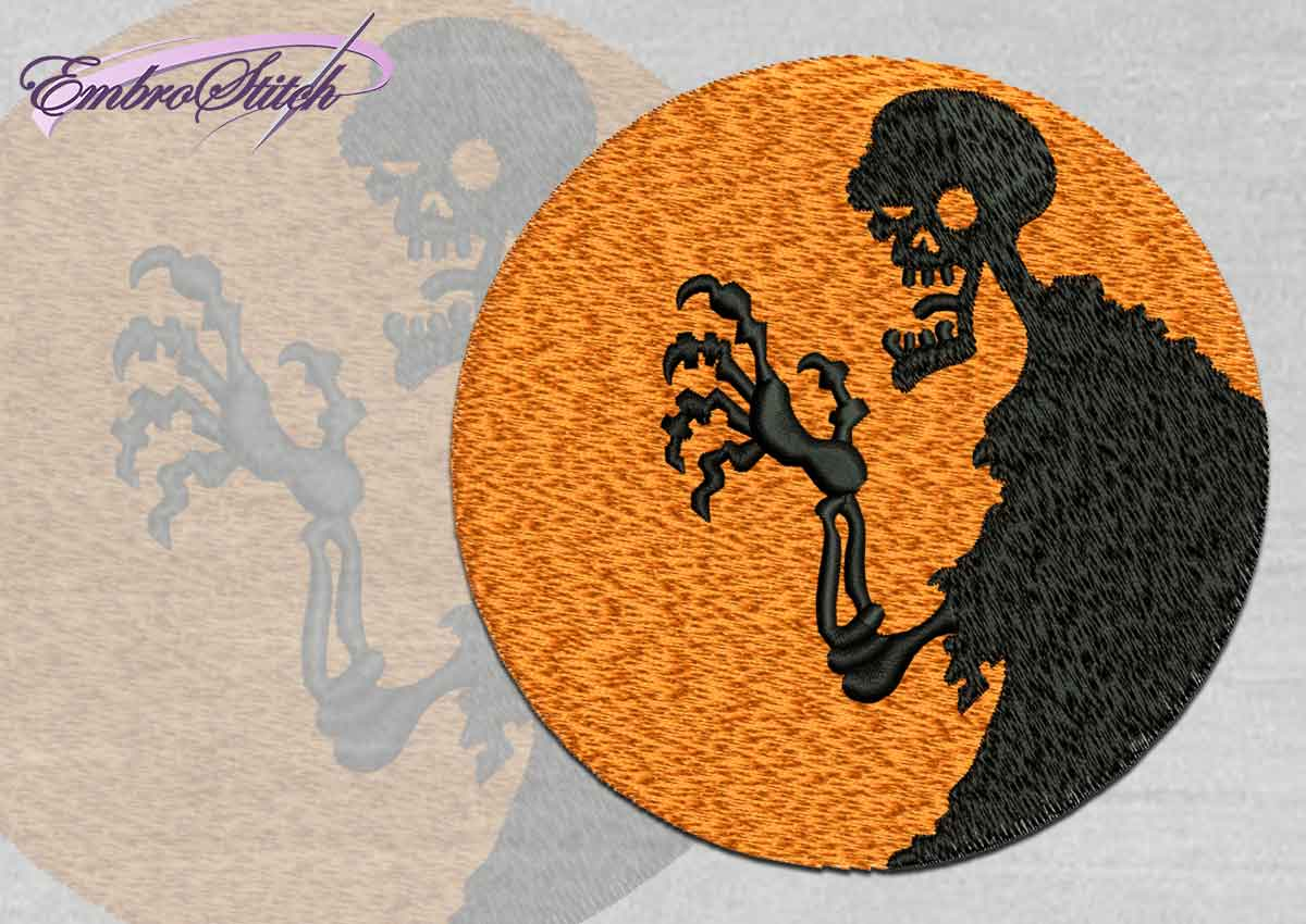The high quality Halloween embroidery design Creepy Zombie