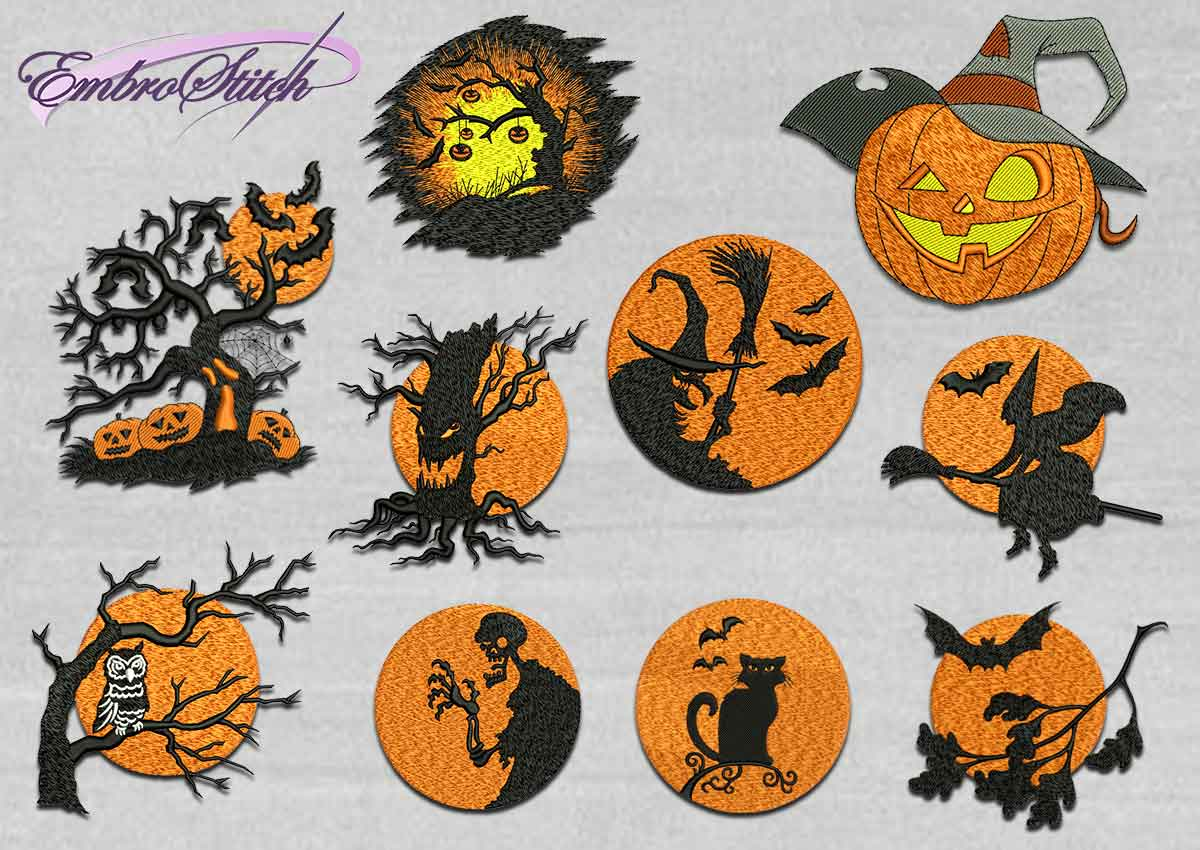 The pack of high quality Halloween embroidery designs Creepy Halloween