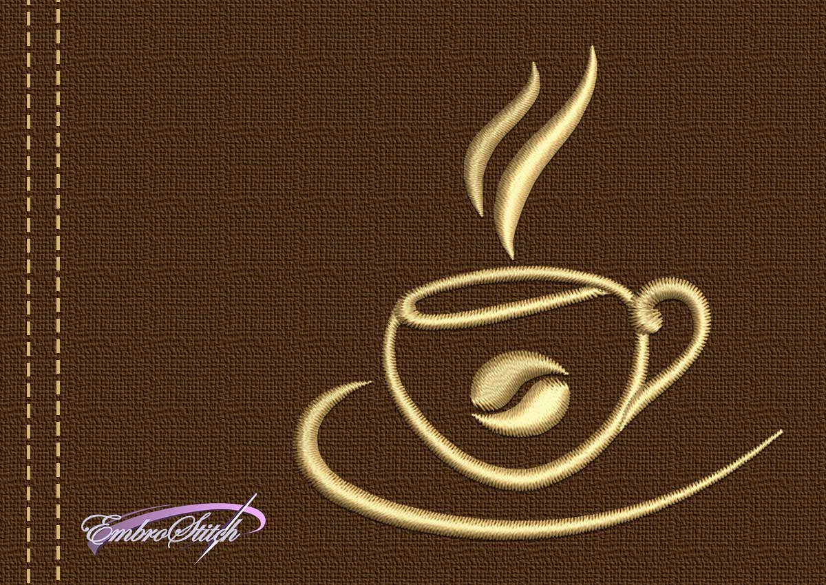 The embroidery design Cup with coffee bean