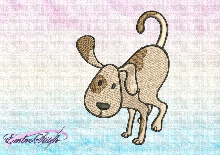 """The embroidery design Cute Dog in Baka Dhyanasana depicts well known yoga """"crow pose"""" pose."""