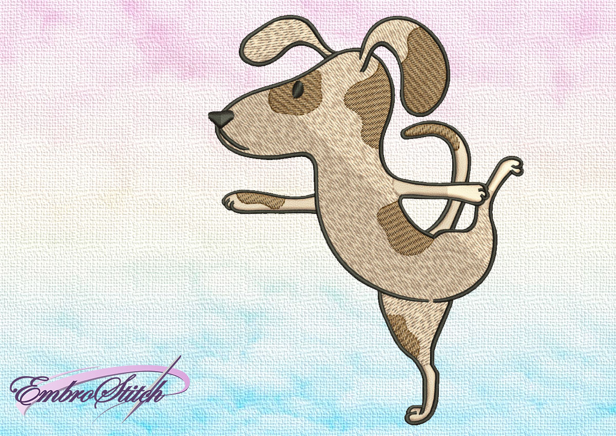 "The embroidery design Cute Dog in Natarajasana depicts yoga asana, that is known as ""Lord of the Dance Pose""."