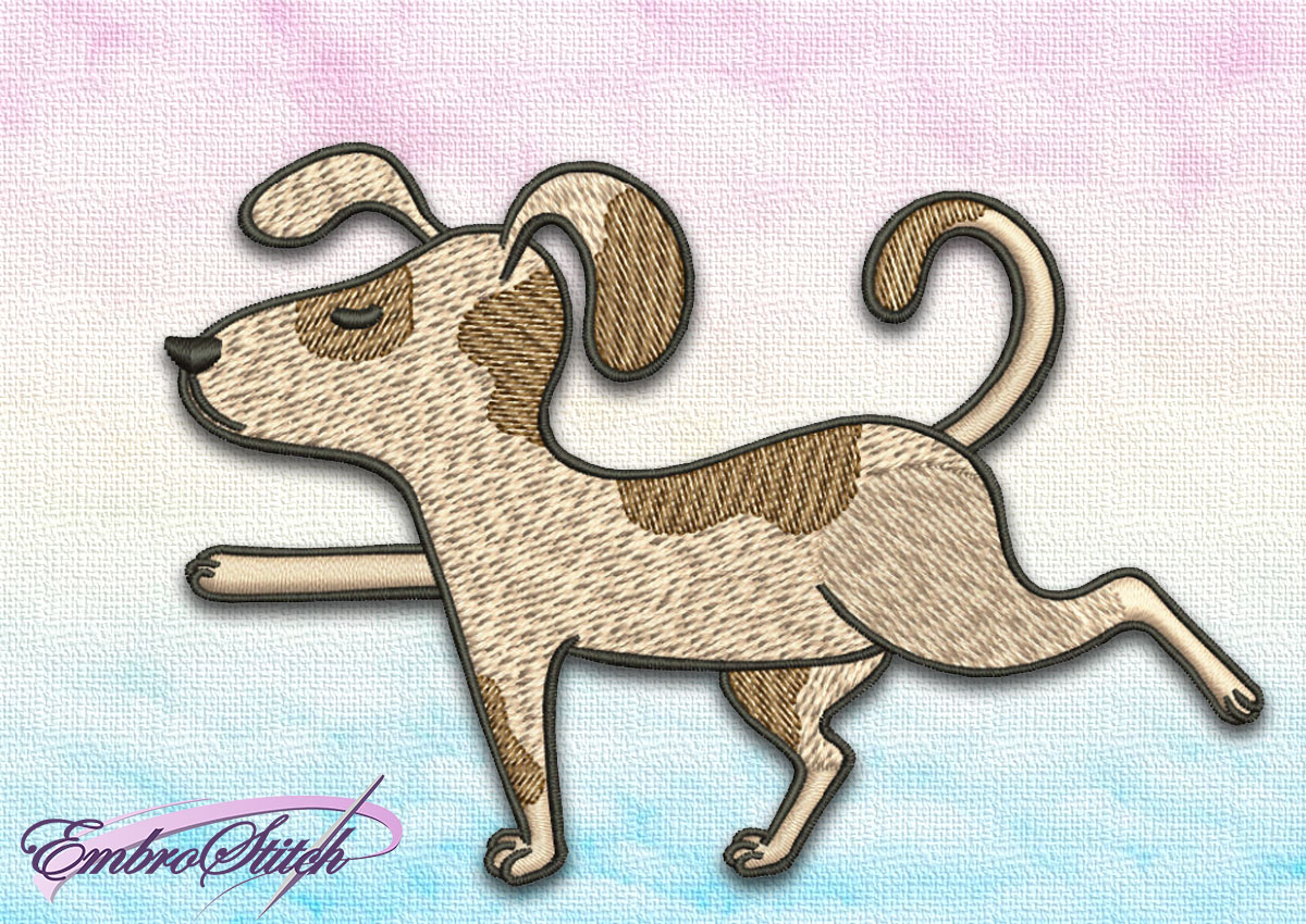The embroidery design Cute Dog in Virabhadrasana III depicts the third step of warrior yoga pose.